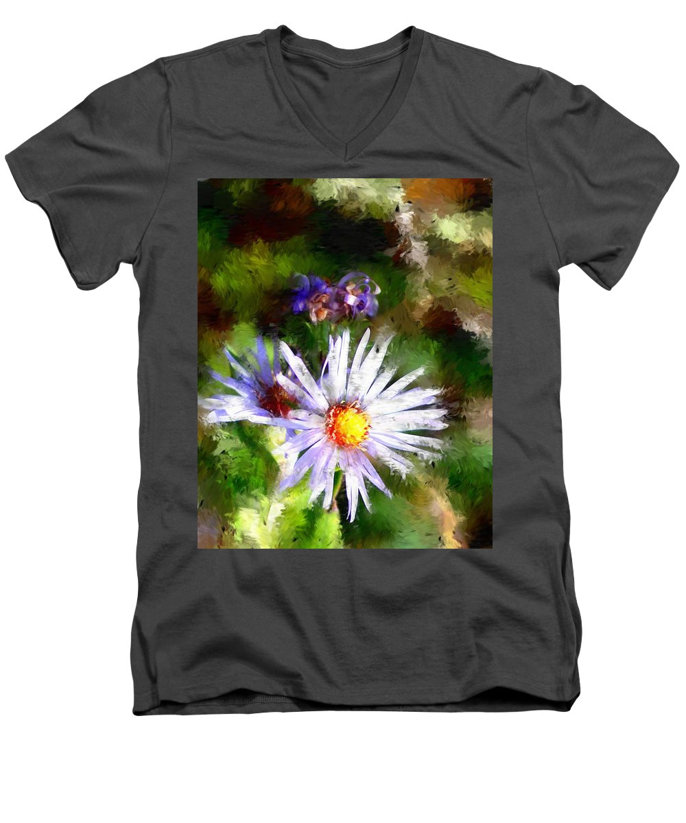 Flower Men's V-Neck T-Shirt featuring the photograph Last Rose Of Summer by David Lane