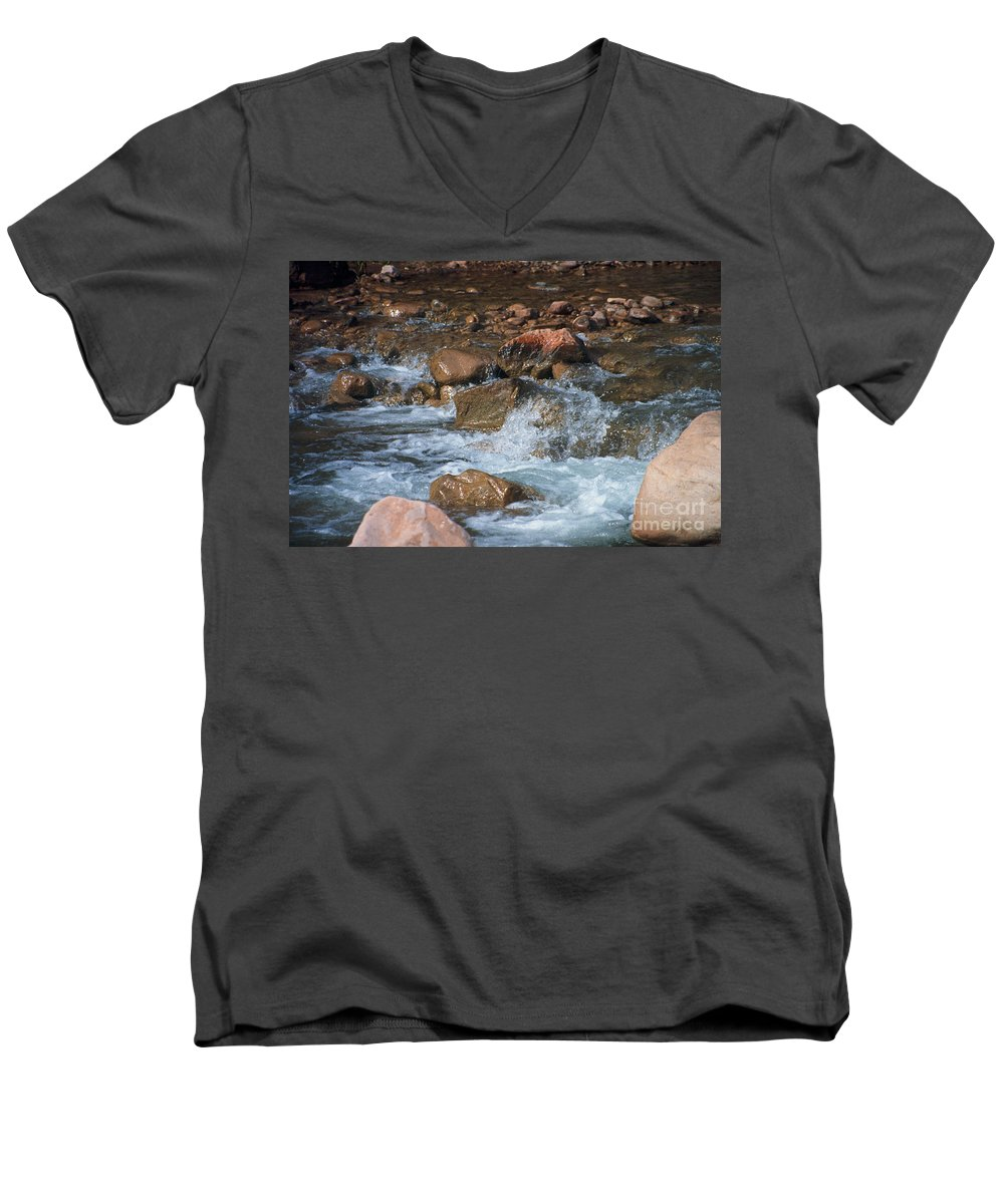Creek Men's V-Neck T-Shirt featuring the photograph Laughing Water by Kathy McClure
