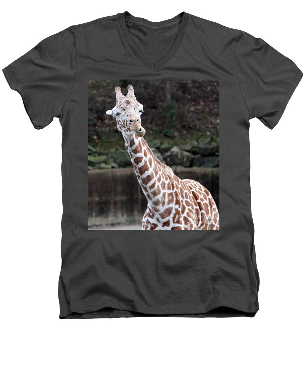 Laughing Giraffe Men's V-Neck T-Shirt featuring the photograph Laughter by Amanda Barcon