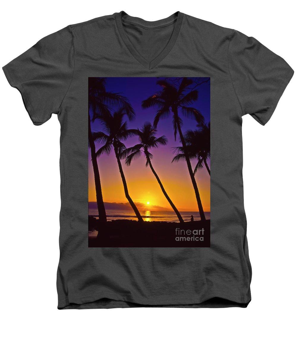 Sunset Men's V-Neck T-Shirt featuring the photograph Launiupoko Sunset by Jim Cazel