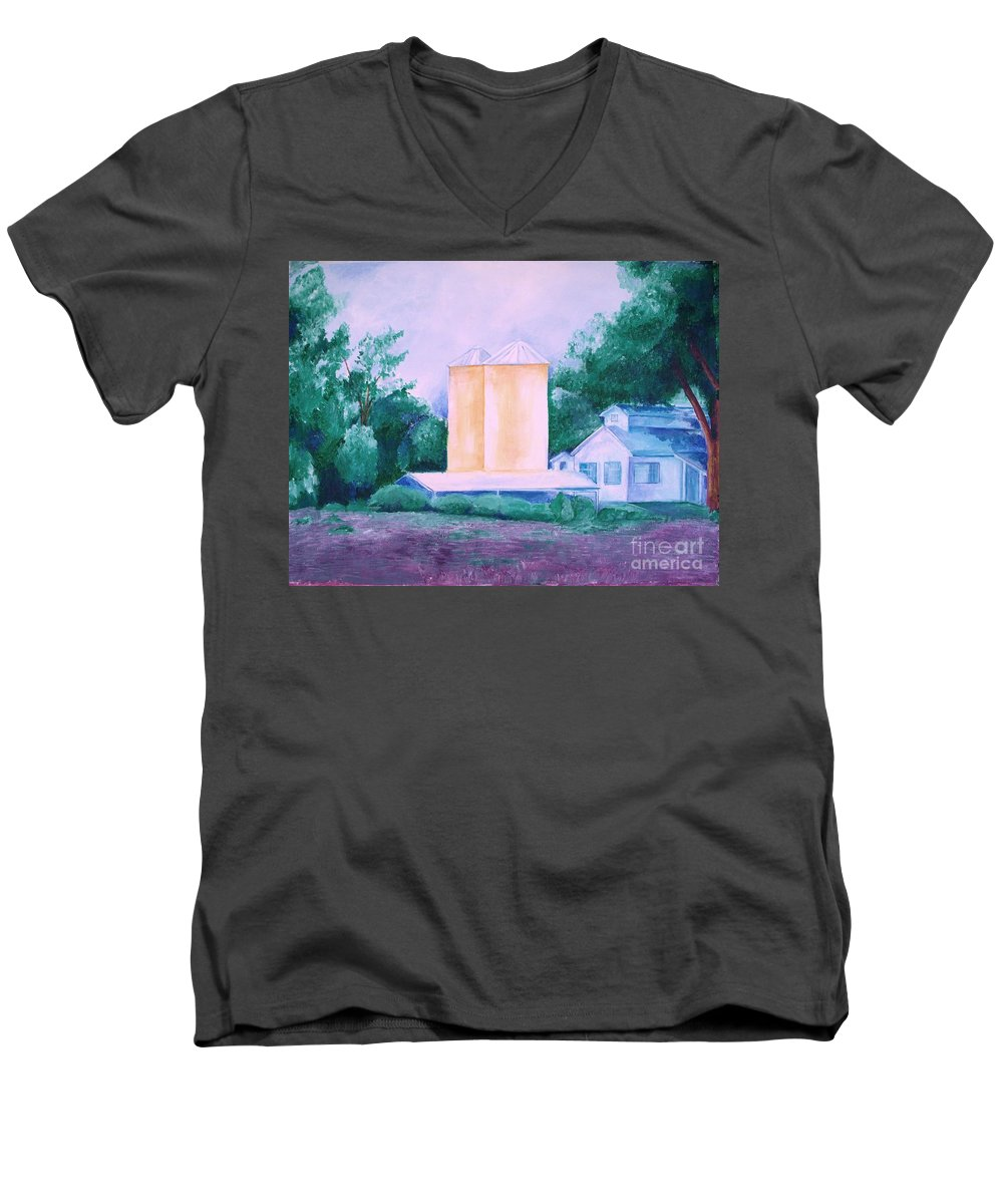 Western Men's V-Neck T-Shirt featuring the painting Lavender Farm Albuquerque by Eric Schiabor