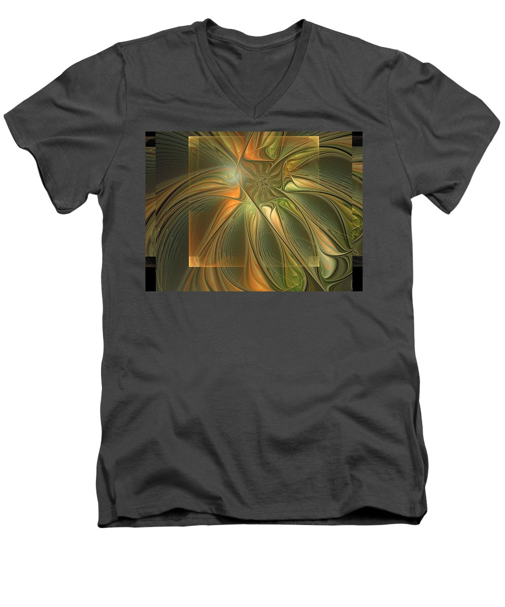 Digital Art Men's V-Neck T-Shirt featuring the digital art Layers by Amanda Moore