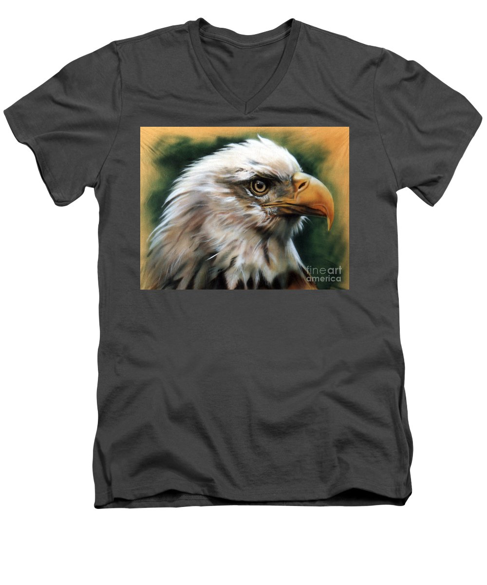 Southwest Art Men's V-Neck T-Shirt featuring the painting Leather Eagle by J W Baker
