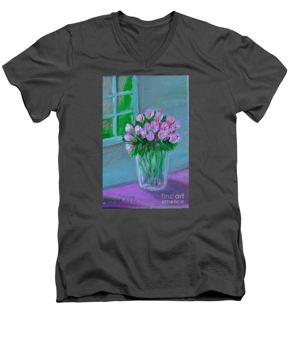 Rose Men's V-Neck T-Shirt featuring the painting Leslie's Roses by Laurie Morgan