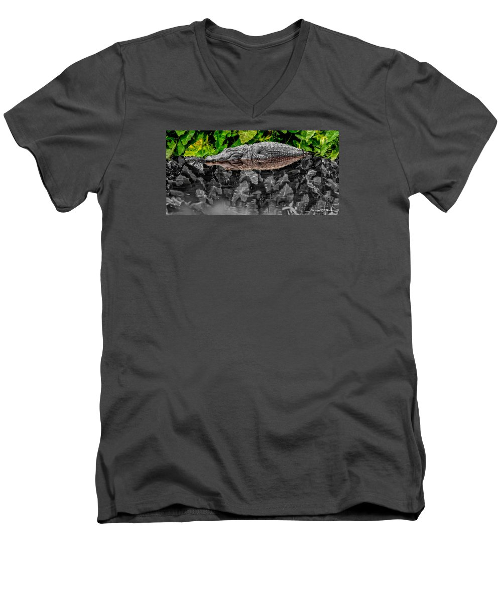 American Men's V-Neck T-Shirt featuring the photograph Let Sleeping Gators Lie - Mod by Christopher Holmes