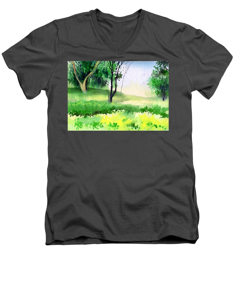 Watercolor Men's V-Neck T-Shirt featuring the painting Let's Go For A Walk by Anil Nene