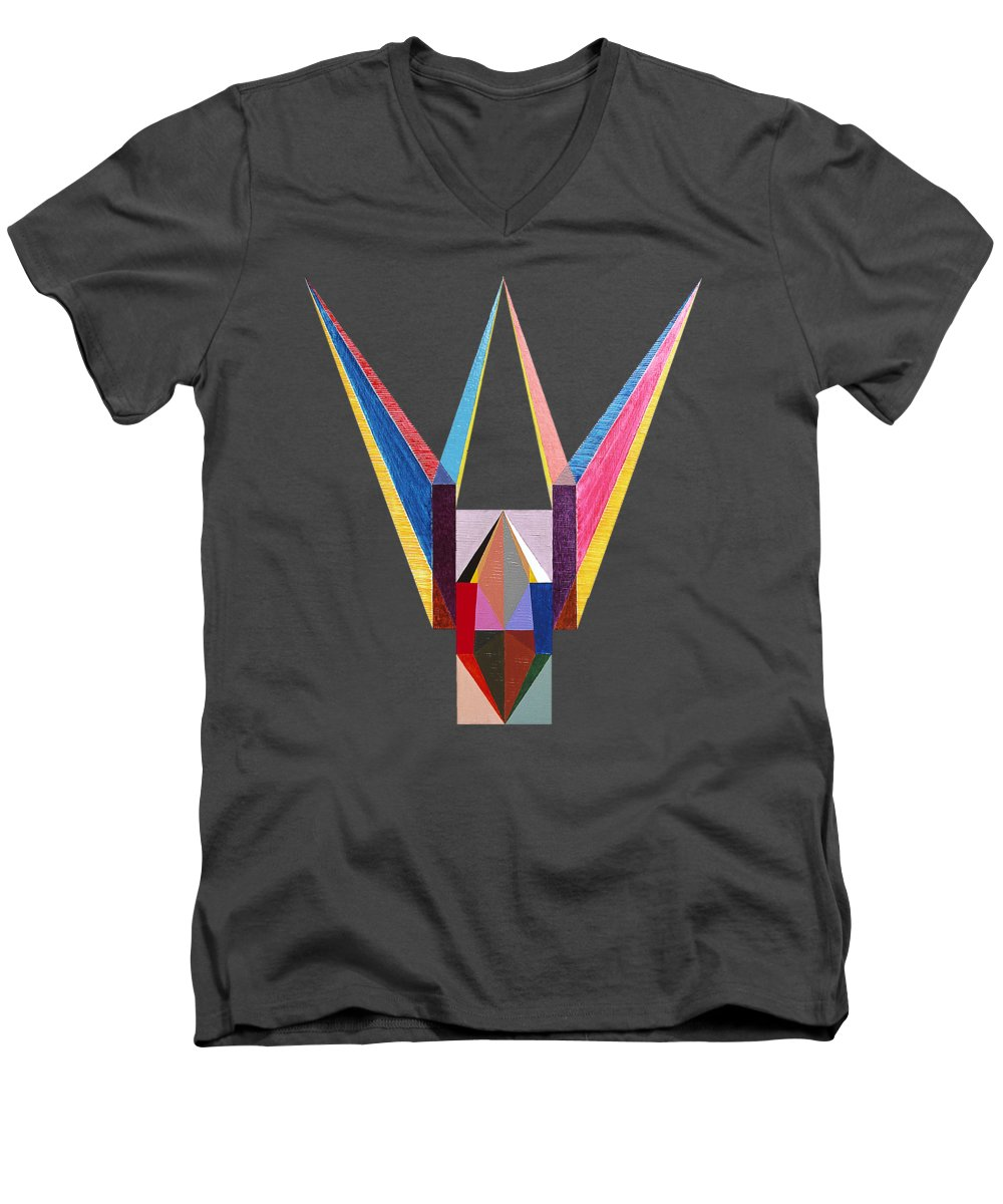 Painting Men's V-Neck T-Shirt featuring the painting Liaison by Michael Bellon