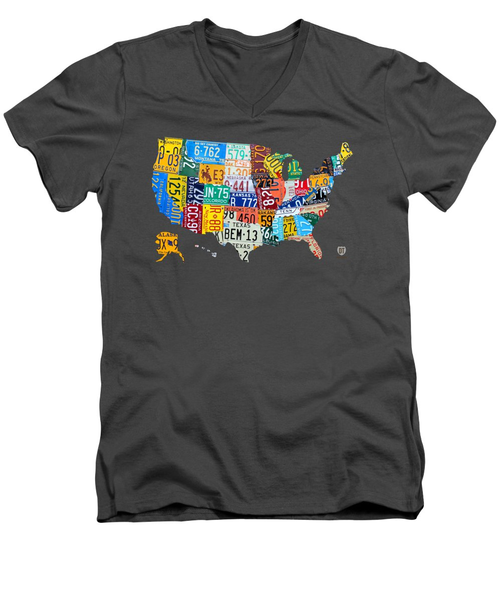 Art Men's V-Neck T-Shirt featuring the mixed media License Plate Map Of The United States by Design Turnpike