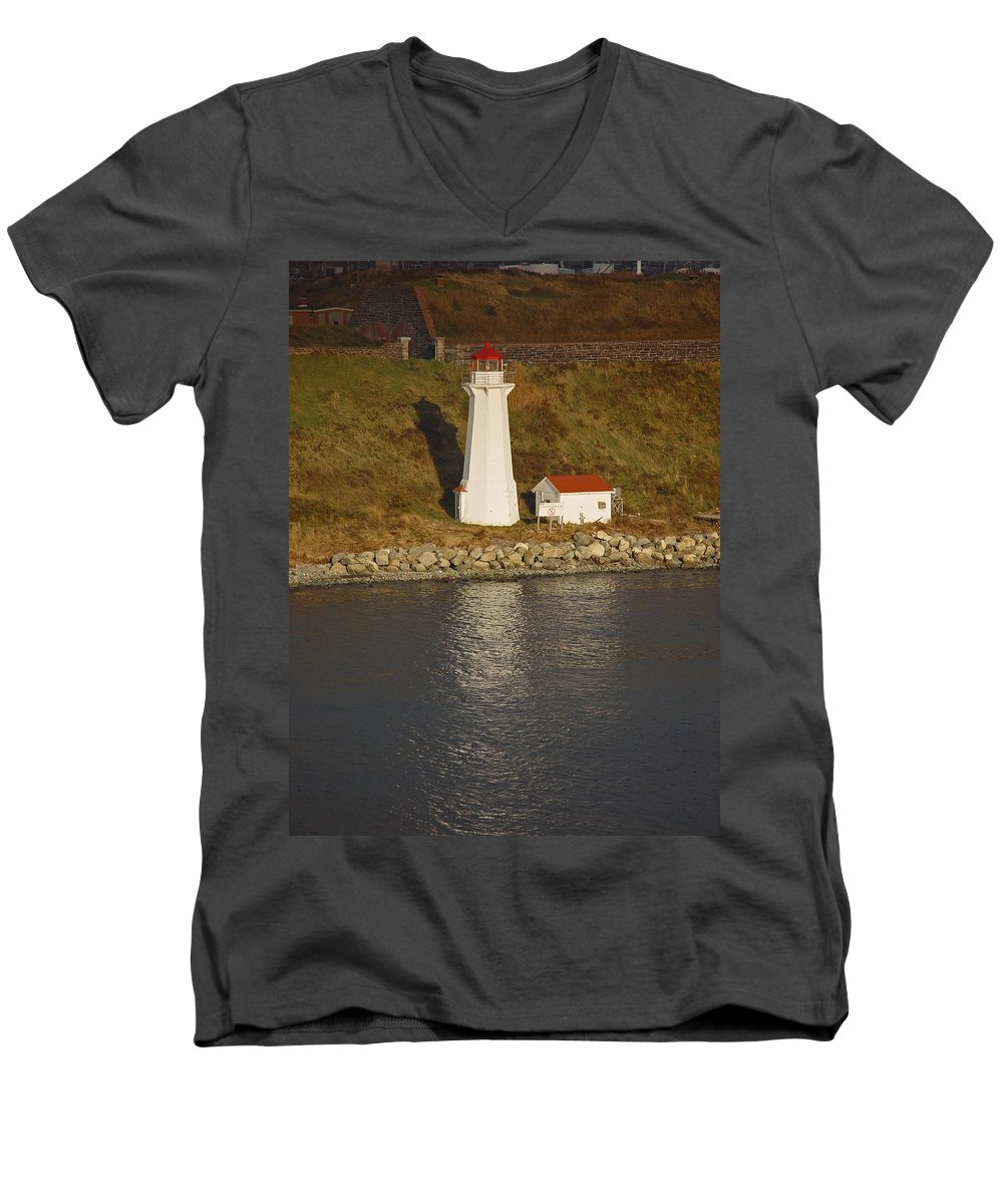 Lighthouse Men's V-Neck T-Shirt featuring the photograph Lighthouse In Maine by Heather Coen