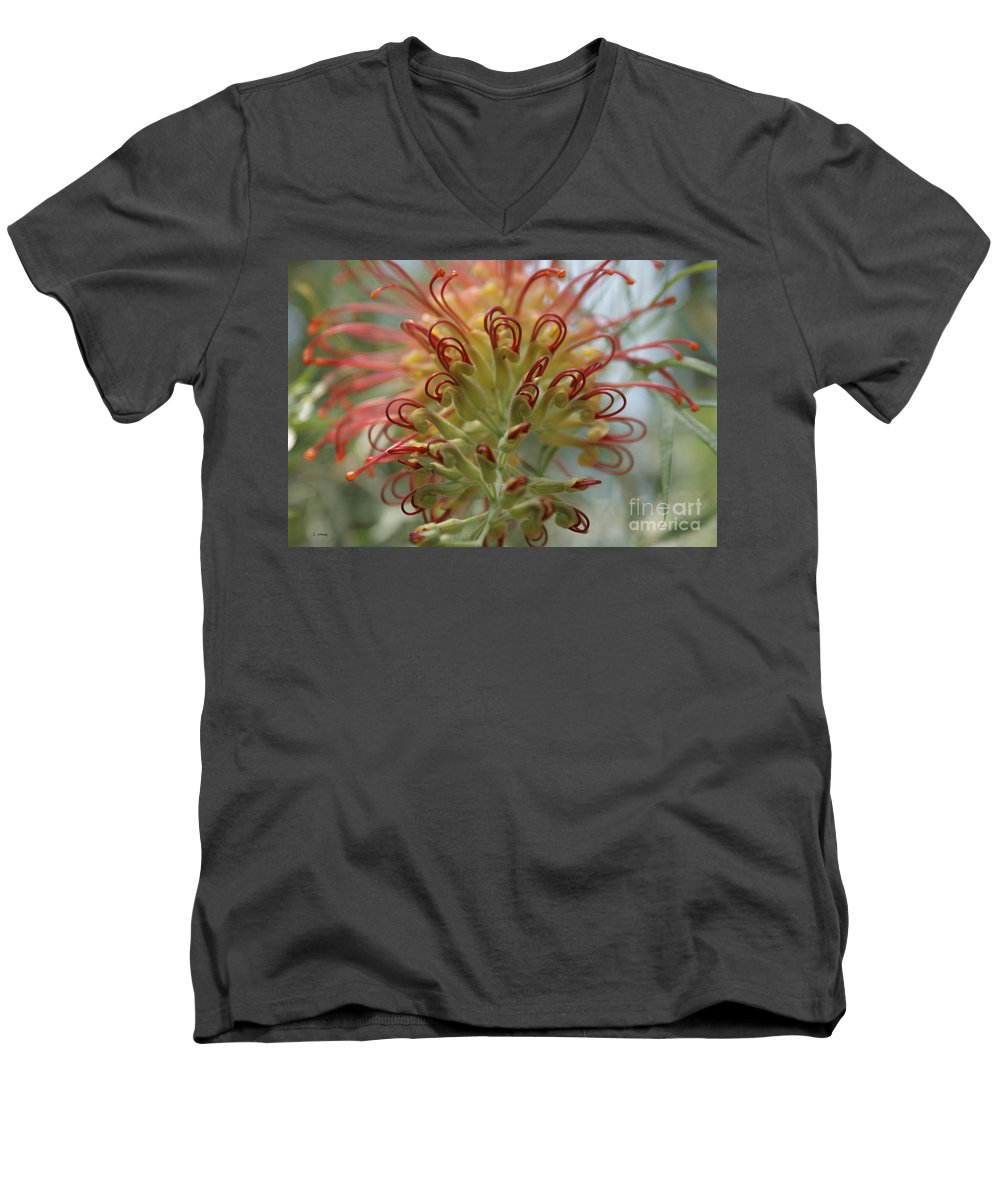 Floral Men's V-Neck T-Shirt featuring the photograph Like Stems Of A Cherry by Shelley Jones