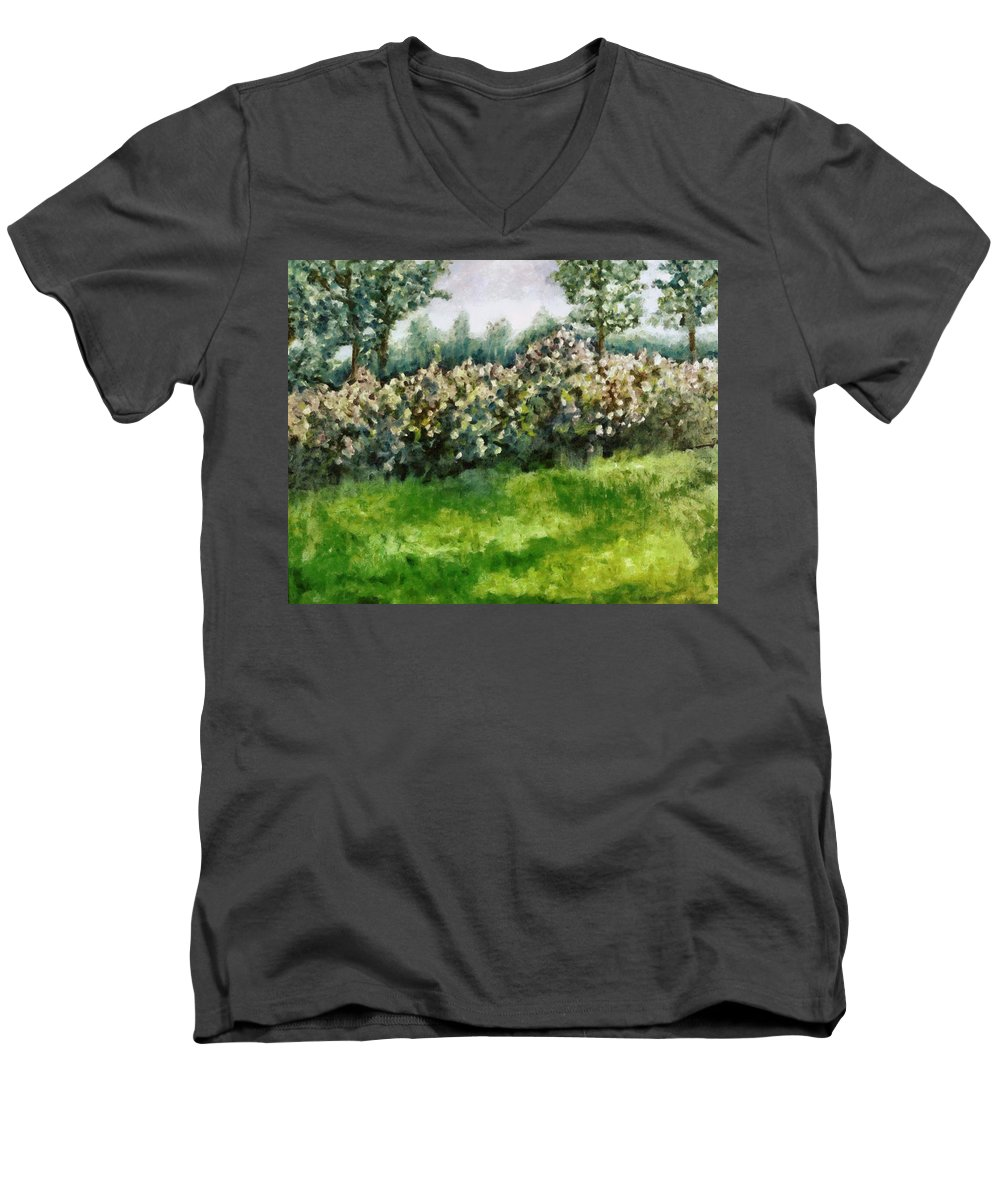 Spring Men's V-Neck T-Shirt featuring the painting Lilac Bushes In Springtime by Michelle Calkins