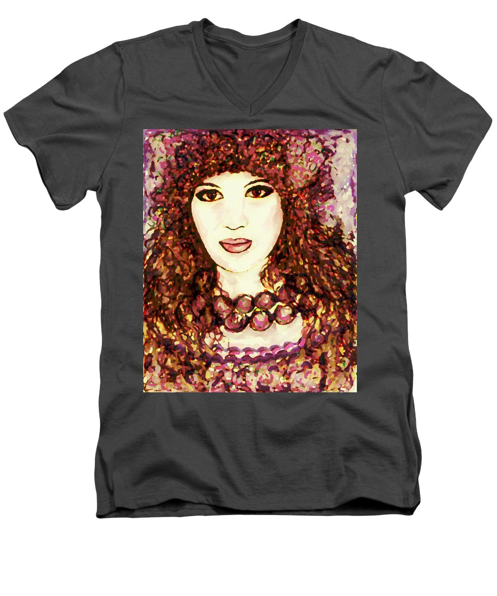 Woman Men's V-Neck T-Shirt featuring the painting Lilac by Natalie Holland