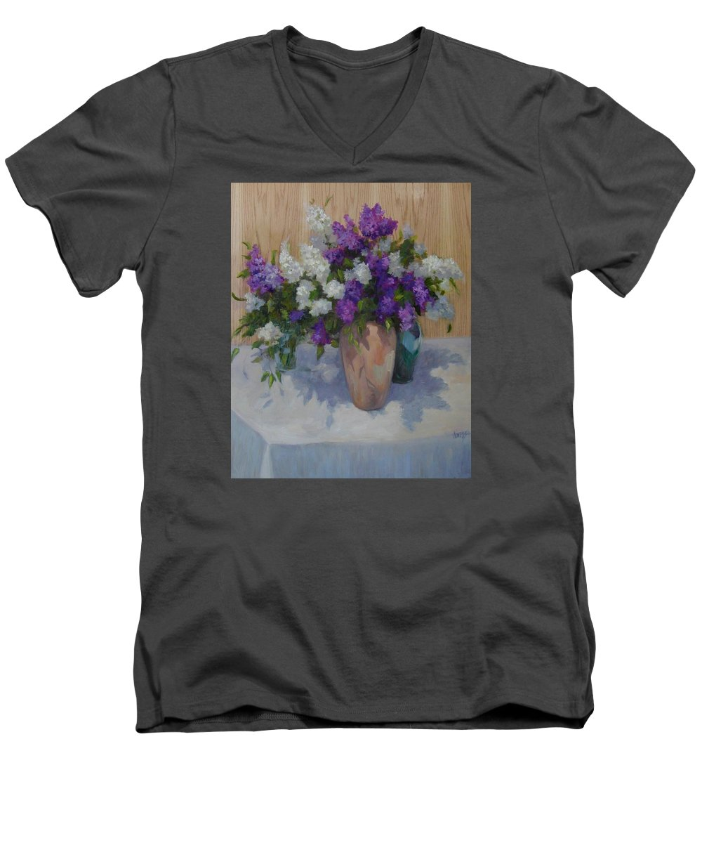 Lilacs Men's V-Neck T-Shirt featuring the painting Lilacs by Patricia Kness