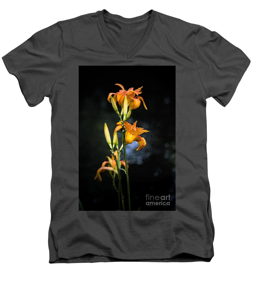 Lily Monet Garden Flora Men's V-Neck T-Shirt featuring the photograph Lily In Monets Garden by Sheila Smart Fine Art Photography