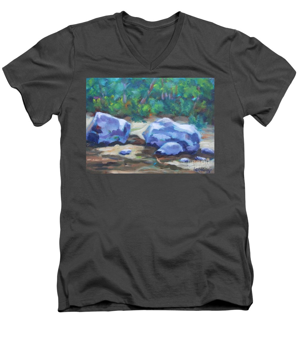 Expressionist Landscape Men's V-Neck T-Shirt featuring the painting Lindenlure by Jan Bennicoff