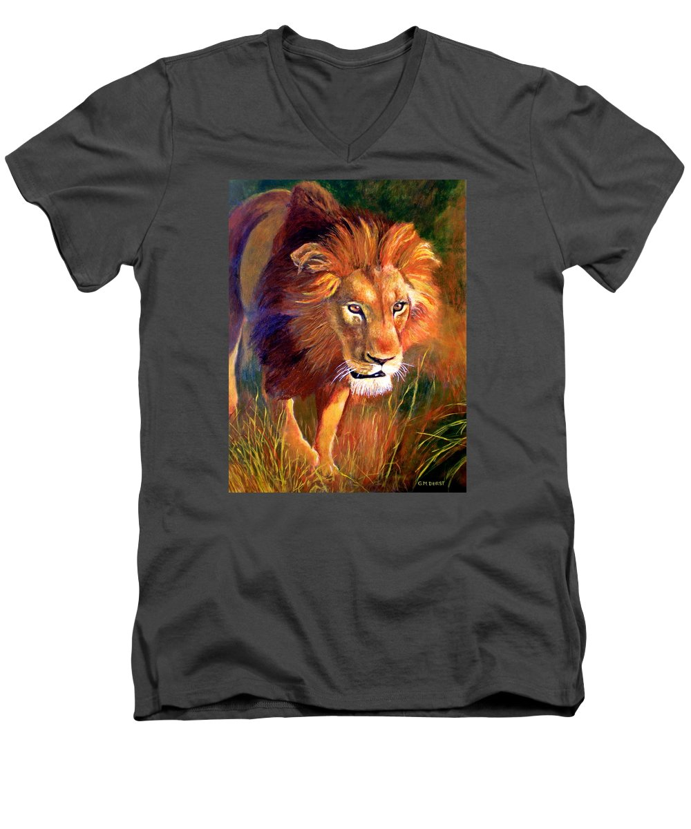 Lion Men's V-Neck T-Shirt featuring the painting Lion At Sunset by Michael Durst