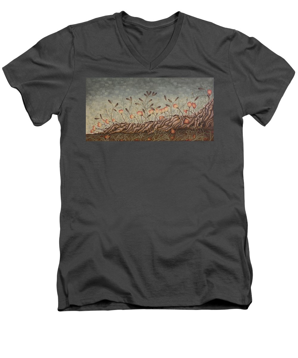 Sex Men's V-Neck T-Shirt featuring the painting Little Gods by Judy Henninger