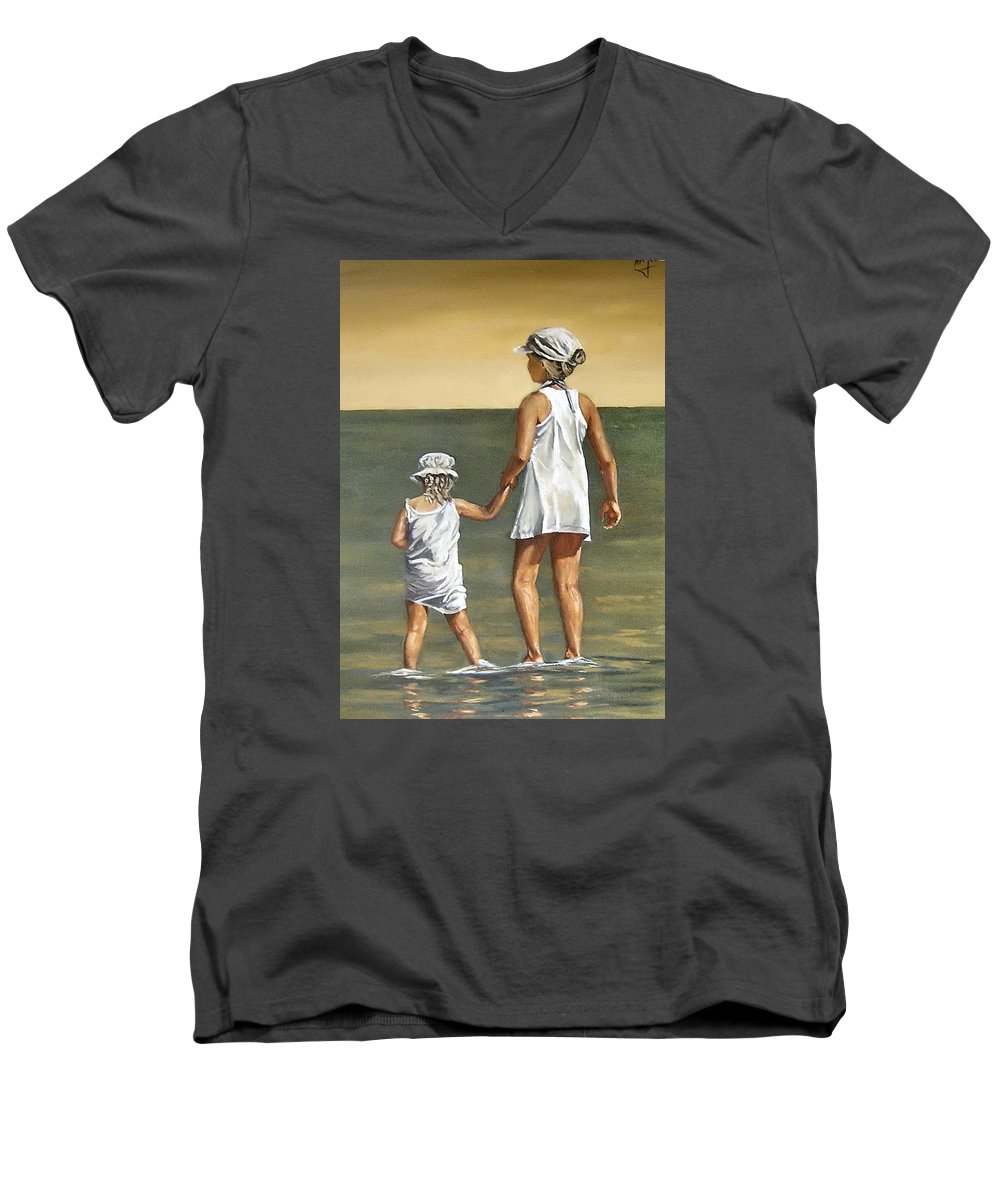 Little Girl Reflection Girls Kids Figurative Water Sea Seascape Children Portrait Men's V-Neck T-Shirt featuring the painting Little Sisters by Natalia Tejera