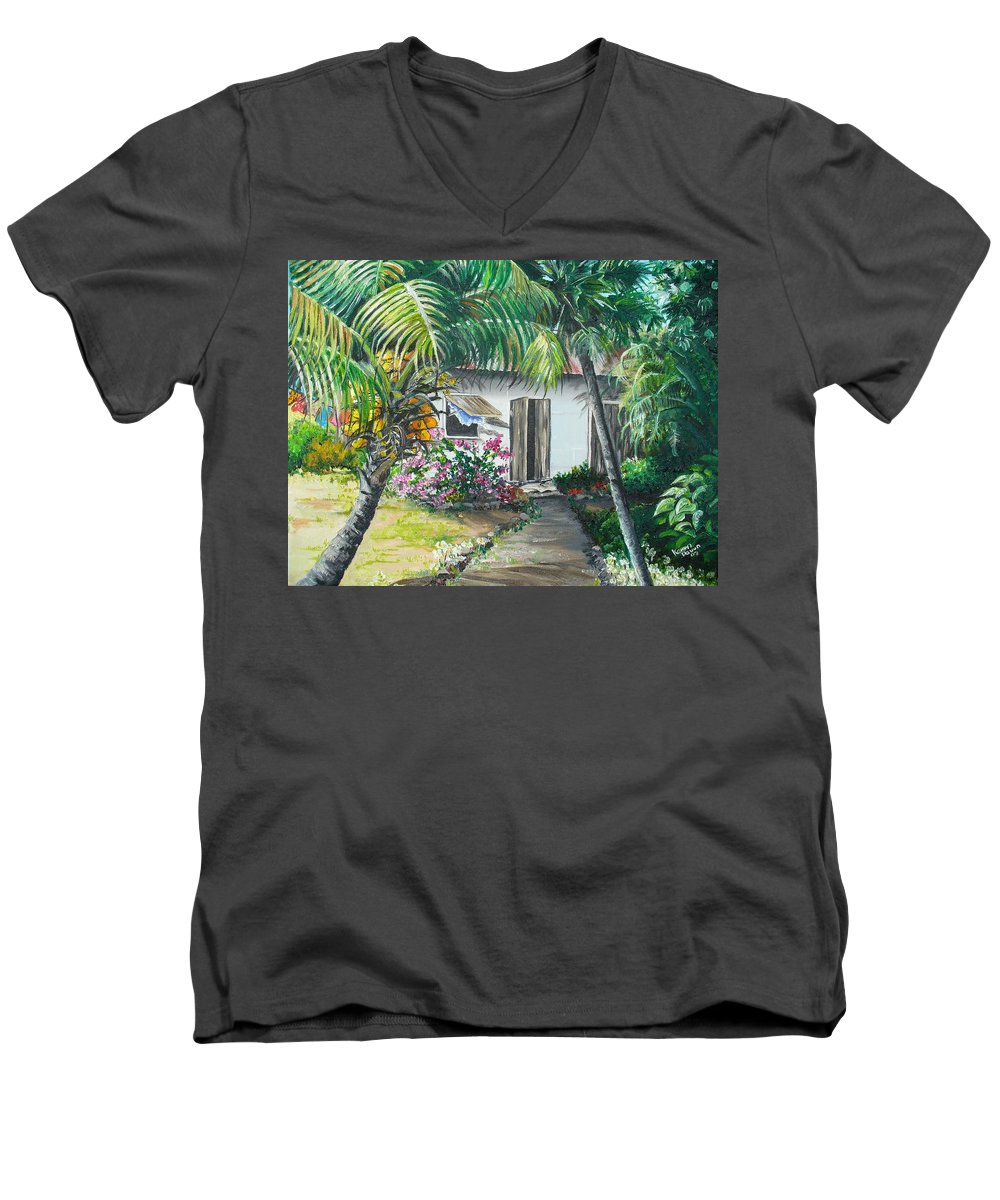 Caribbean Painting Typical Country House In Trinidad And The Islands With Coconut Tree Tropical Painting Men's V-Neck T-Shirt featuring the painting Little West Indian House 2...sold by Karin Dawn Kelshall- Best