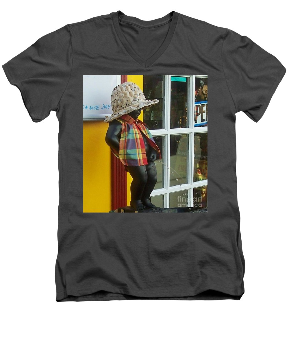 Fountain Men's V-Neck T-Shirt featuring the photograph Little Wiz by Debbi Granruth