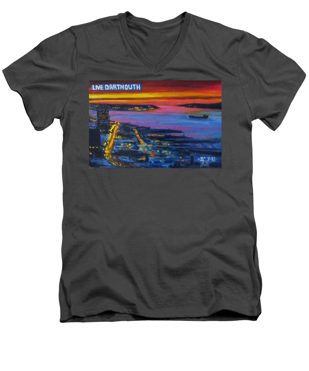 Night Scenes Men's V-Neck T-Shirt featuring the painting Live Eye Over Dartmouth Ns by John Malone