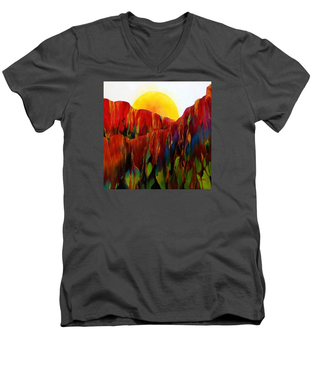 Oil Men's V-Neck T-Shirt featuring the painting Living Earth by Peggy Guichu