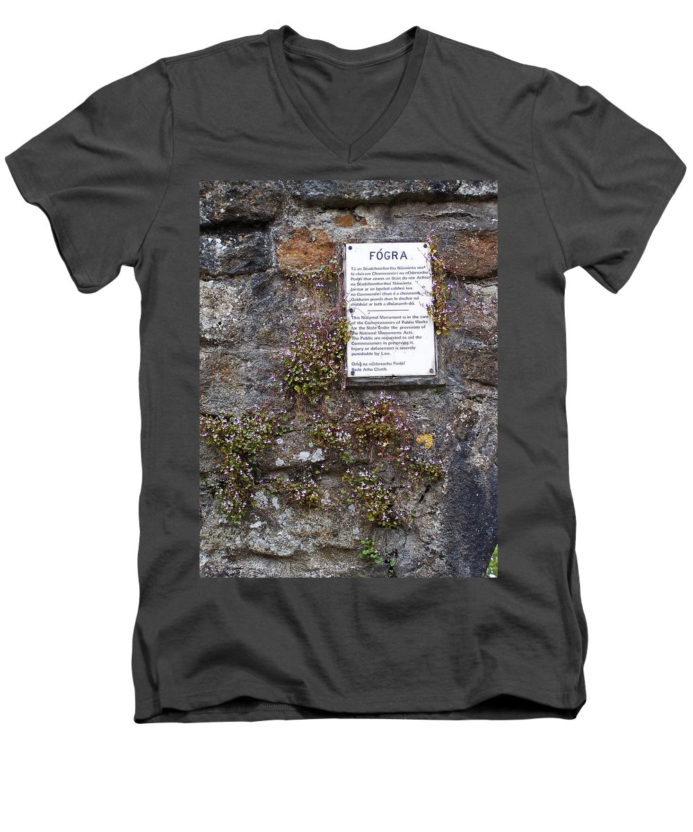 Irish Men's V-Neck T-Shirt featuring the photograph Living Wall At Donegal Castle Ireland by Teresa Mucha