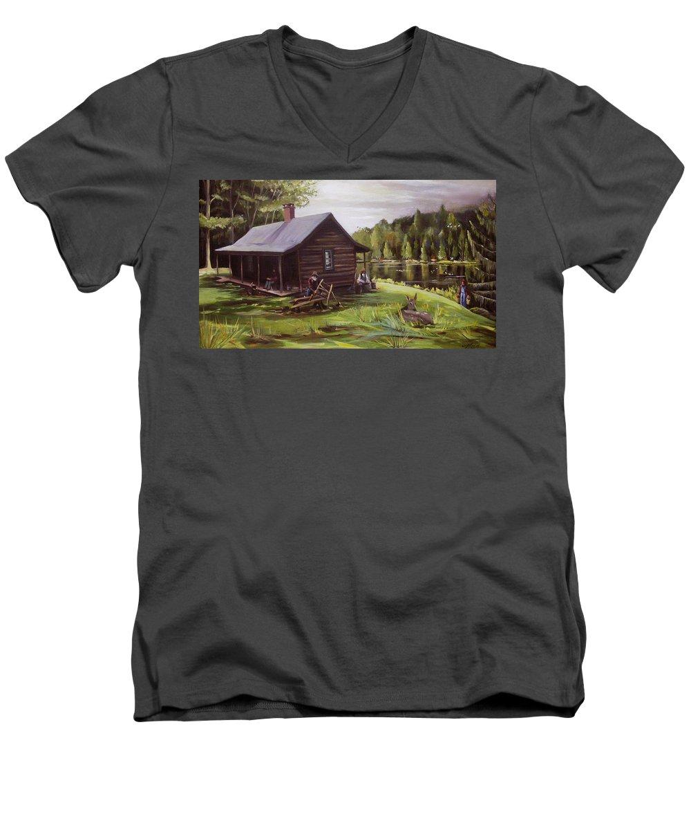 Log Cabin By The Lake Men's V-Neck T-Shirt featuring the painting Log Cabin By The Lake by Nancy Griswold