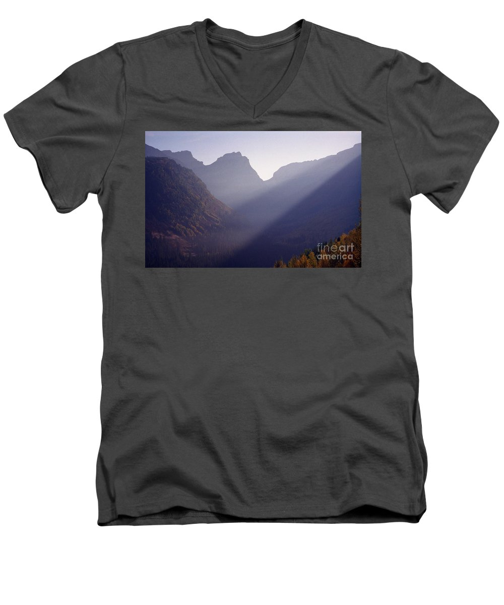 Mountains Men's V-Neck T-Shirt featuring the photograph Logan Pass by Richard Rizzo