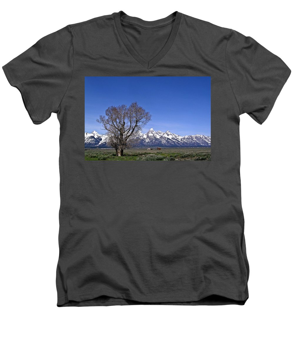 Tree Men's V-Neck T-Shirt featuring the photograph Lone Tree At Tetons by Douglas Barnett