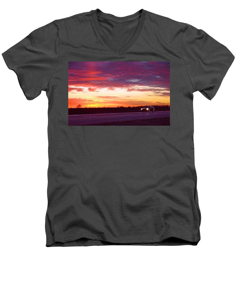Landscape Men's V-Neck T-Shirt featuring the photograph Lonesome Highway by Steve Karol