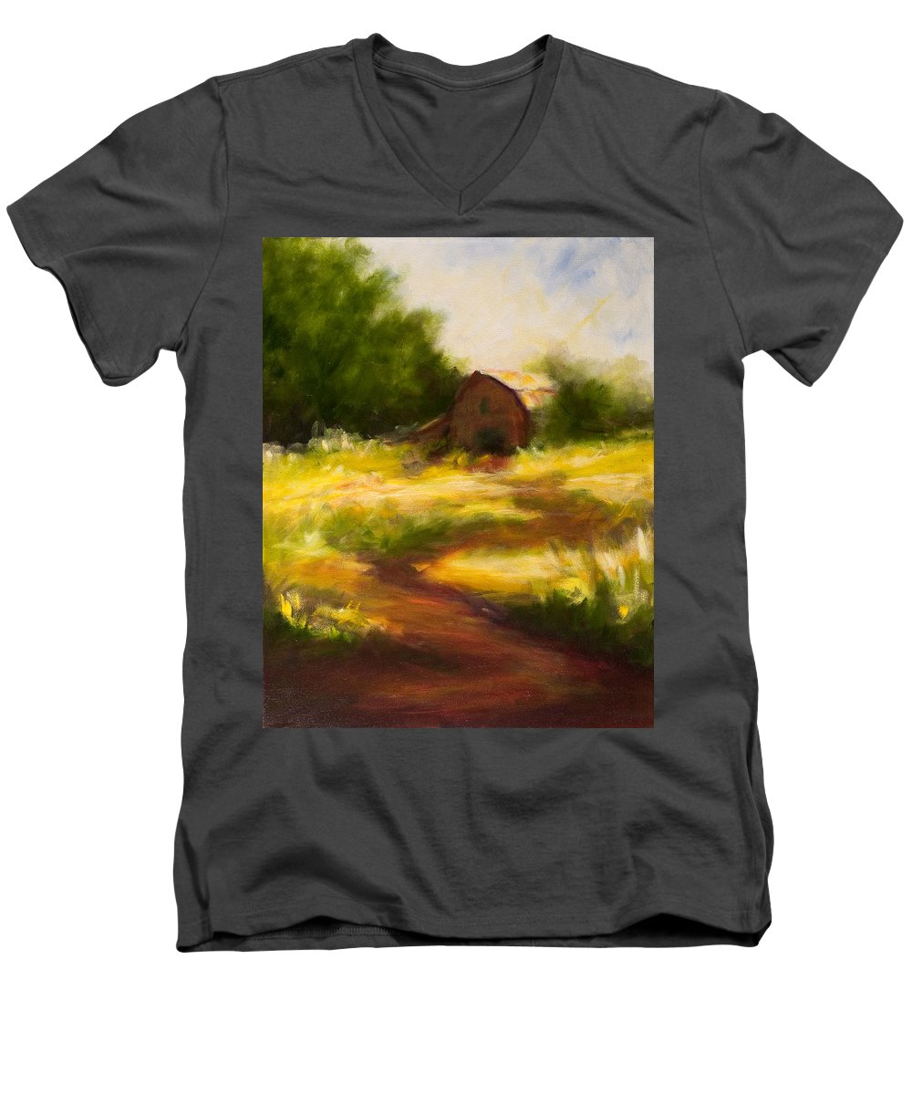 Landscape Men's V-Neck T-Shirt featuring the painting Long Road Home by Shannon Grissom