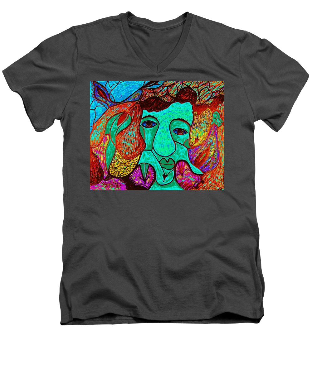 Man Men's V-Neck T-Shirt featuring the painting Looking For Love by Natalie Holland
