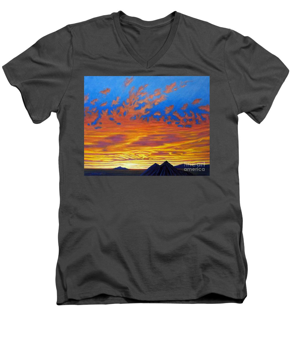 Landscape Men's V-Neck T-Shirt featuring the painting Looking To The Southwest by Brian Commerford