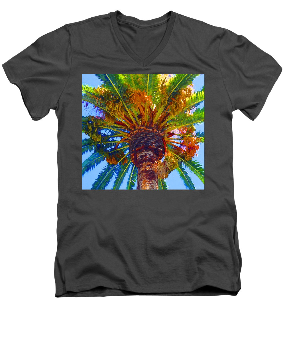 Garden Men's V-Neck T-Shirt featuring the painting Looking Up At Palm Tree by Amy Vangsgard