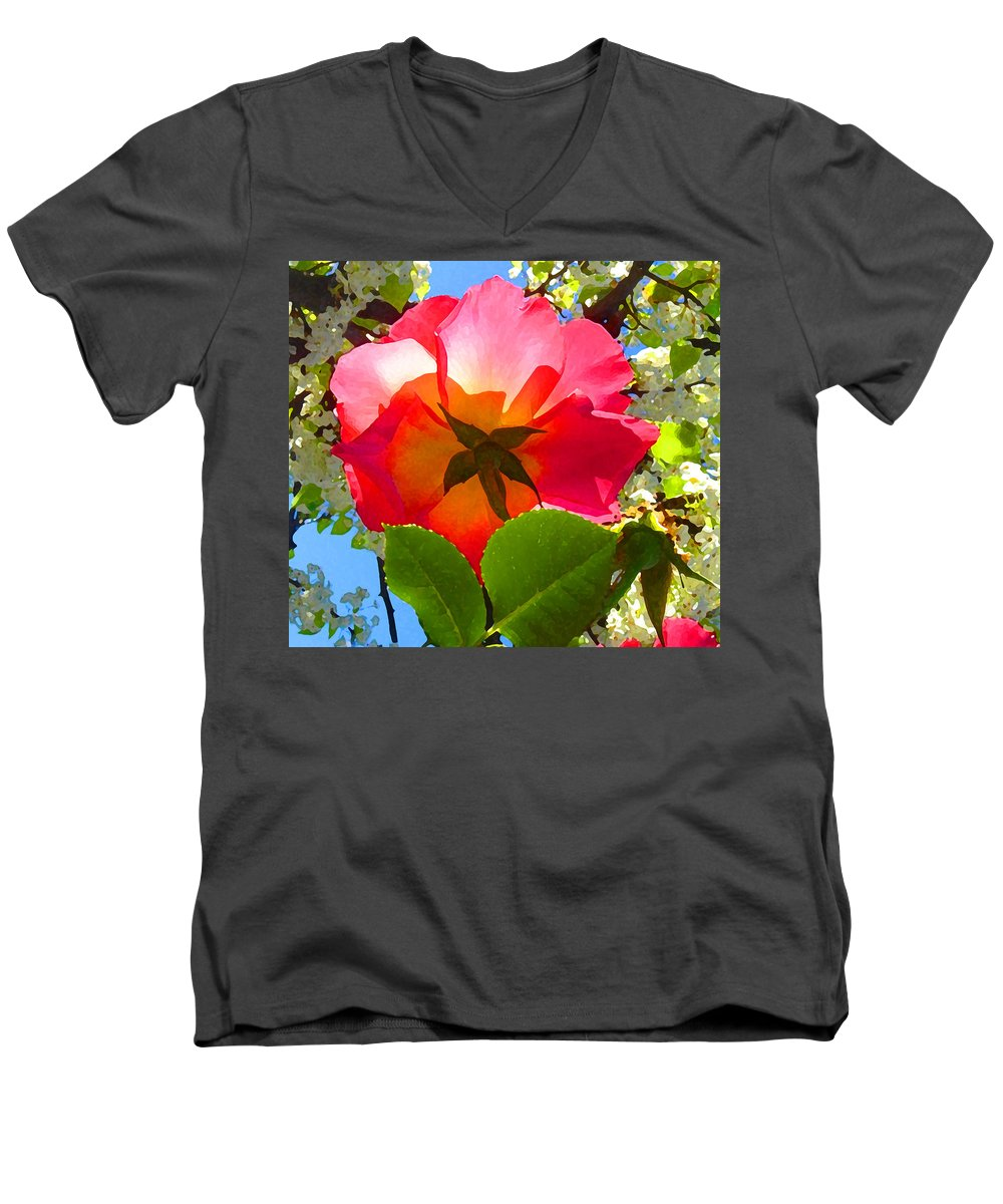 Roses Men's V-Neck T-Shirt featuring the photograph Looking Up At Rose And Tree by Amy Vangsgard