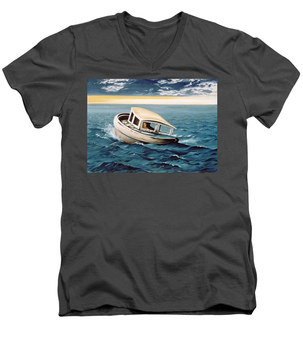 Seascape Men's V-Neck T-Shirt featuring the painting Lost At Sea by Mark Cawood