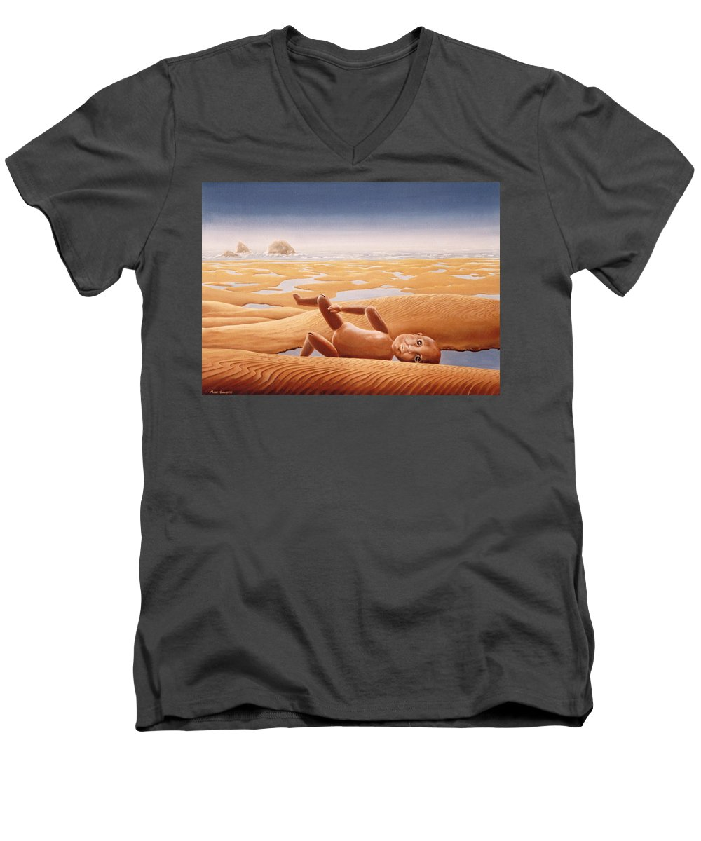 Surreal Men's V-Neck T-Shirt featuring the painting Lost In A Dream by Mark Cawood