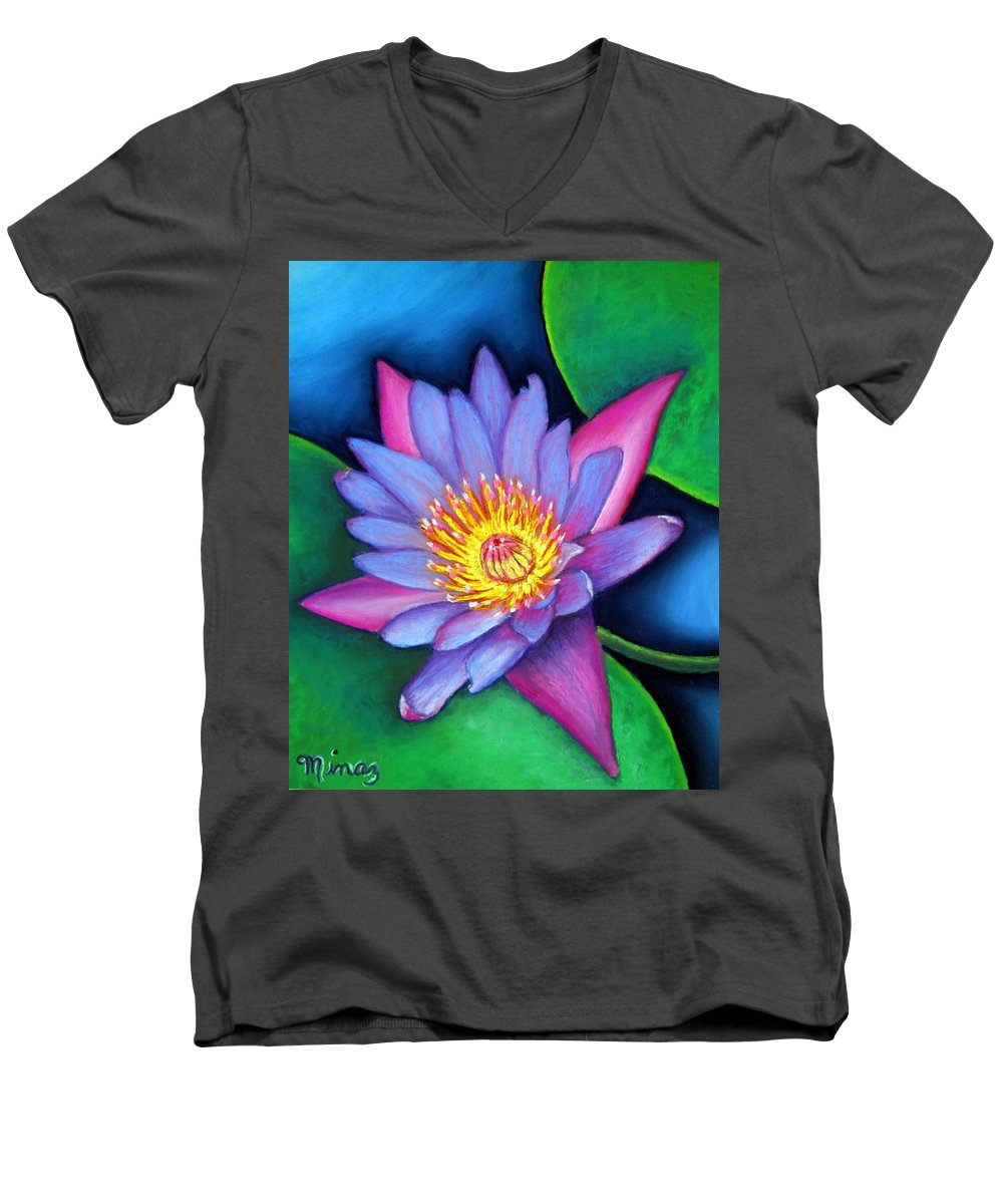 Flower Men's V-Neck T-Shirt featuring the painting Lotus Divine by Minaz Jantz