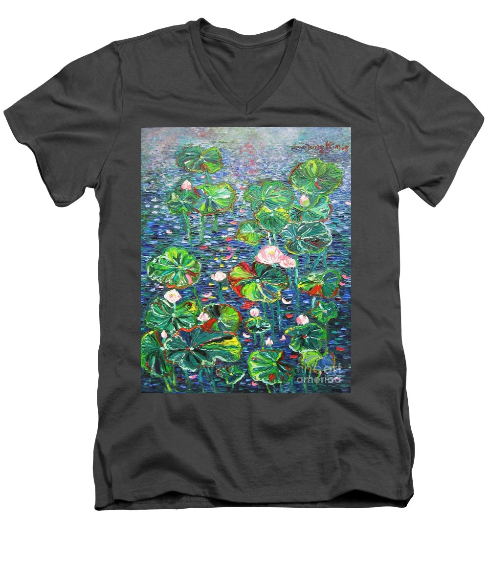 Water Lily Paintings Men's V-Neck T-Shirt featuring the painting Lotus Flower Water Lily Lily Pads Painting by Seon-Jeong Kim