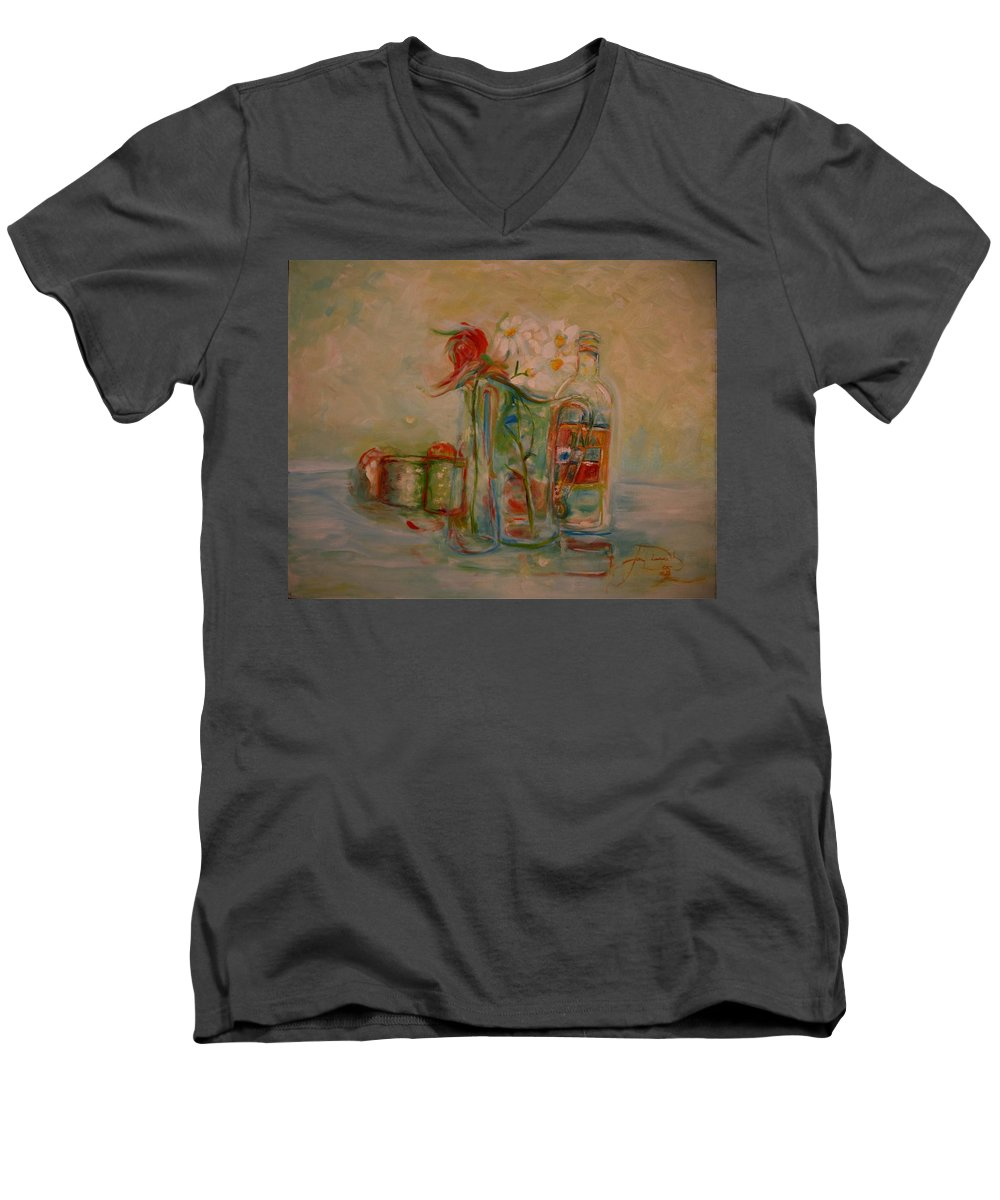 Rose Men's V-Neck T-Shirt featuring the painting Lovers Picnic by Jack Diamond