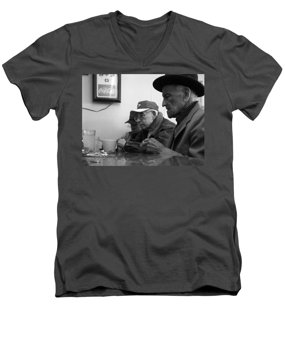 Diner Men's V-Neck T-Shirt featuring the photograph Lunch Counter Boys - Black And White by Tim Nyberg