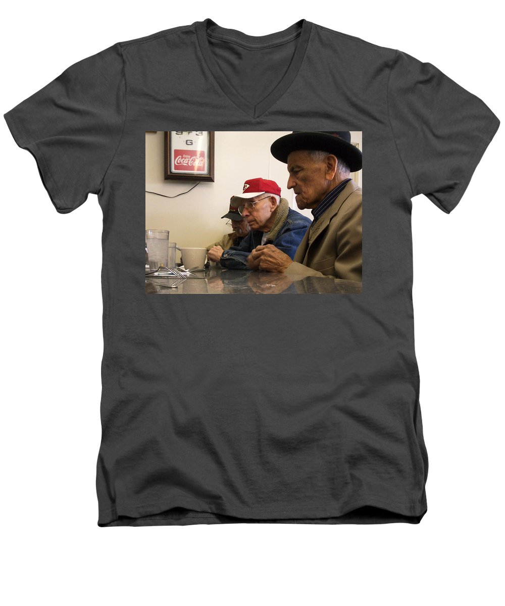 Diner Men's V-Neck T-Shirt featuring the photograph Lunch Counter Boys by Tim Nyberg