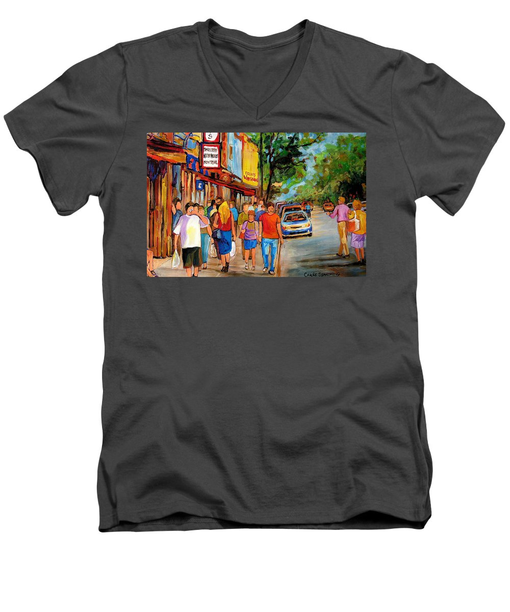 Montreal Streetscenes Men's V-Neck T-Shirt featuring the painting Lunchtime On Mainstreet by Carole Spandau