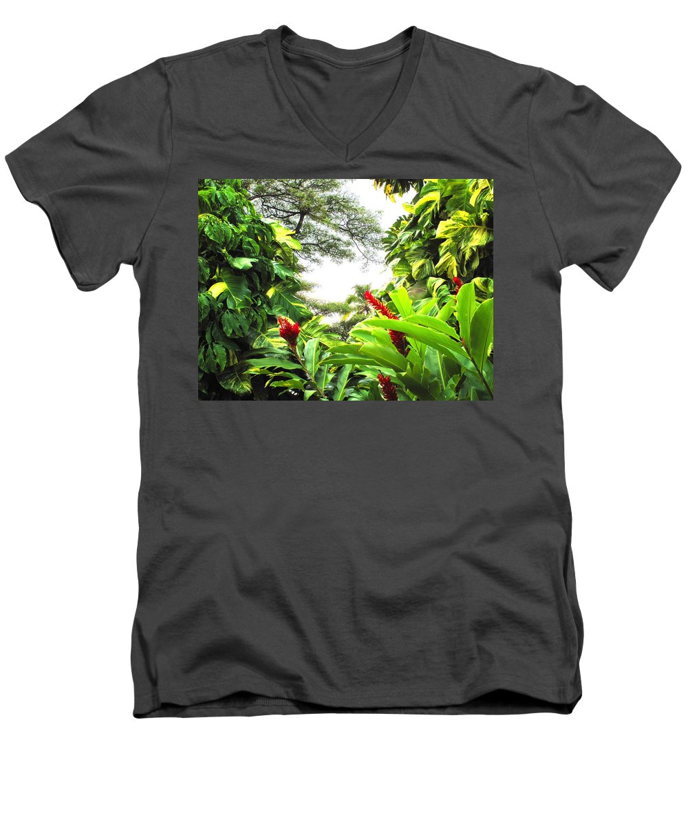 St Kitts Men's V-Neck T-Shirt featuring the photograph Lush by Ian MacDonald