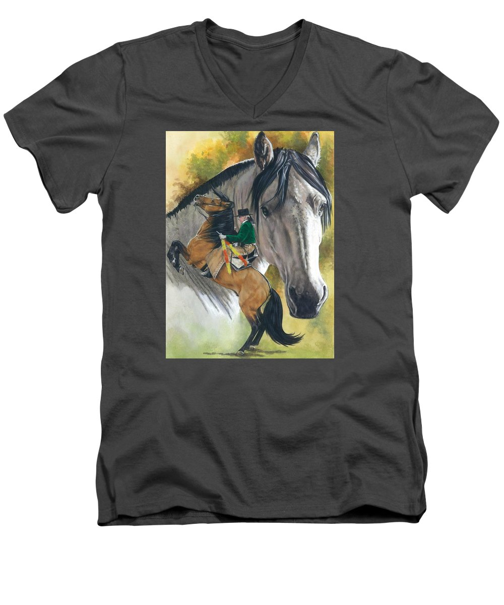 Horses Men's V-Neck T-Shirt featuring the mixed media Lusitano by Barbara Keith