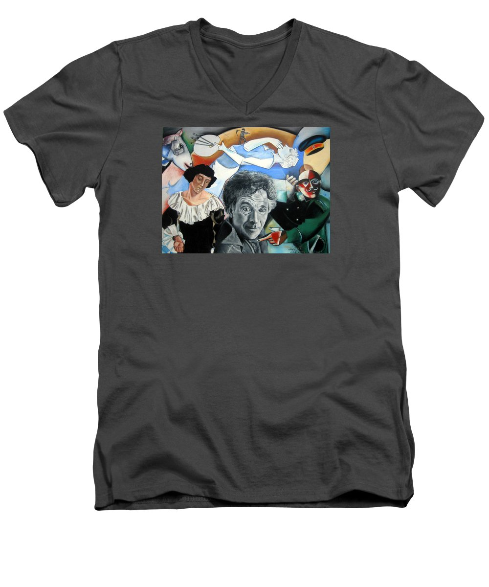 Chagall Portrait Men's V-Neck T-Shirt featuring the drawing M Chagall by Leyla Munteanu