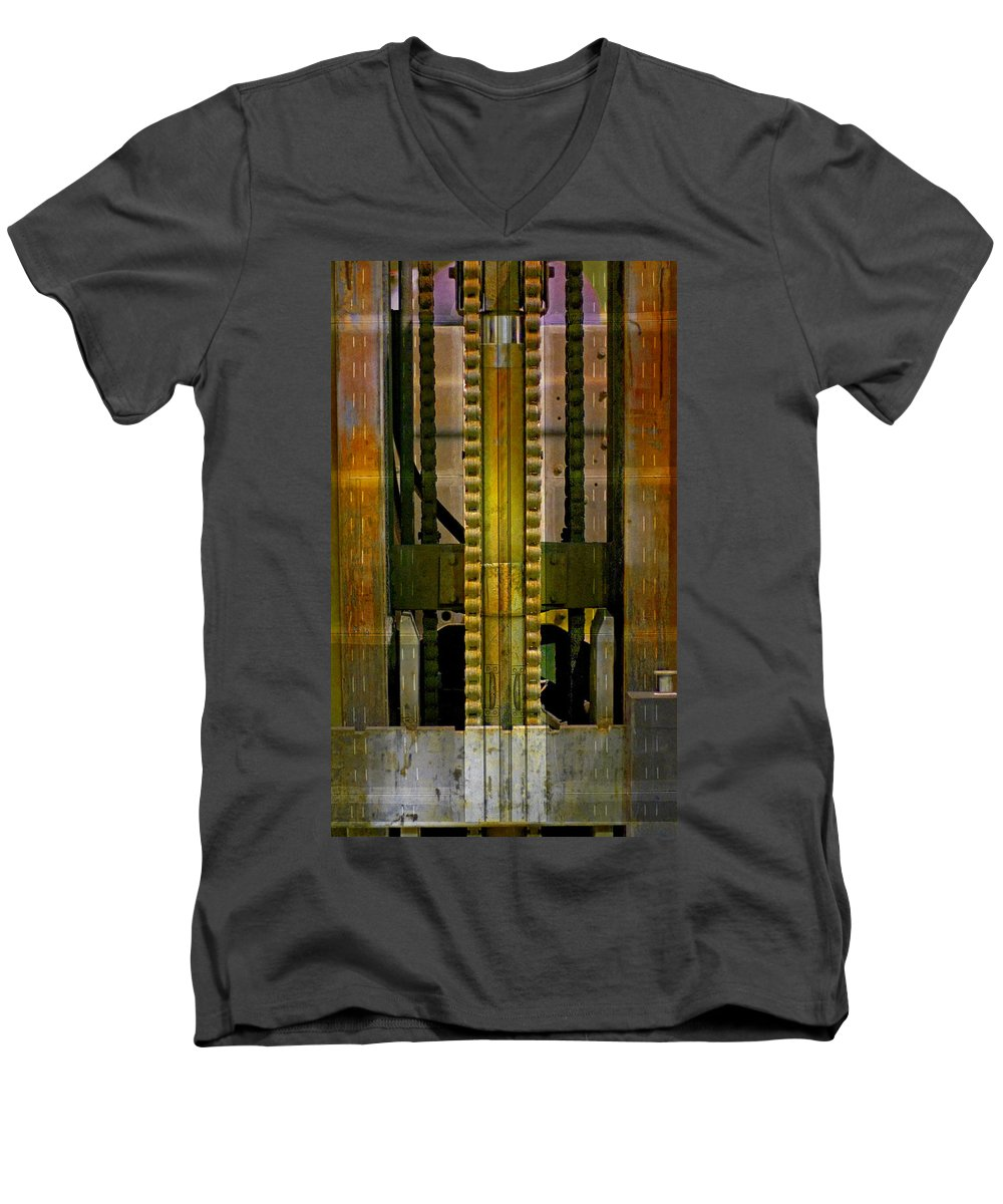 Texture Men's V-Neck T-Shirt featuring the photograph Machina by Skip Hunt