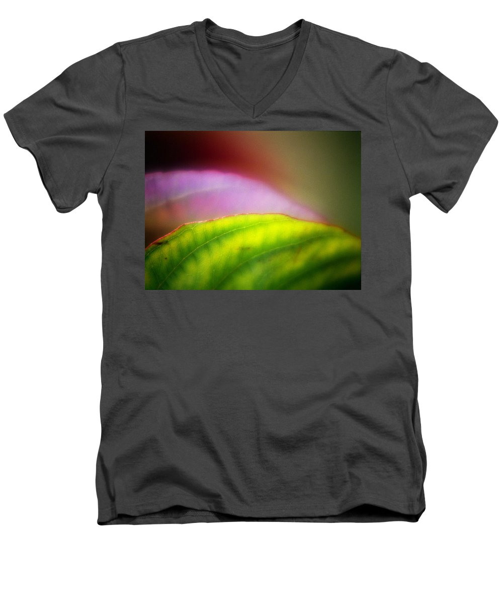 Macro Men's V-Neck T-Shirt featuring the photograph Macro Leaf by Lee Santa