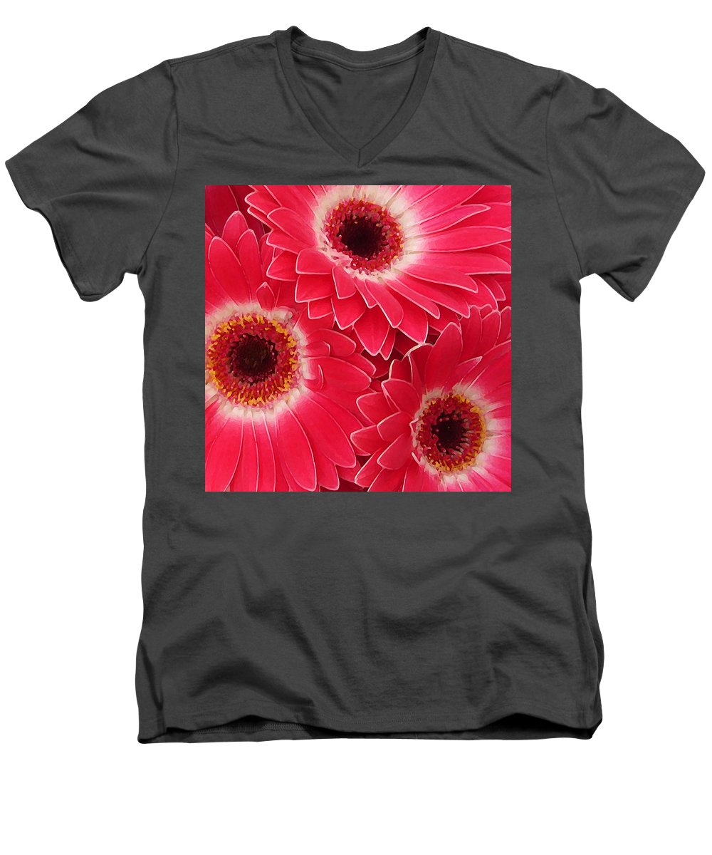 Daisy Men's V-Neck T-Shirt featuring the painting Magenta Gerber Daisies by Amy Vangsgard